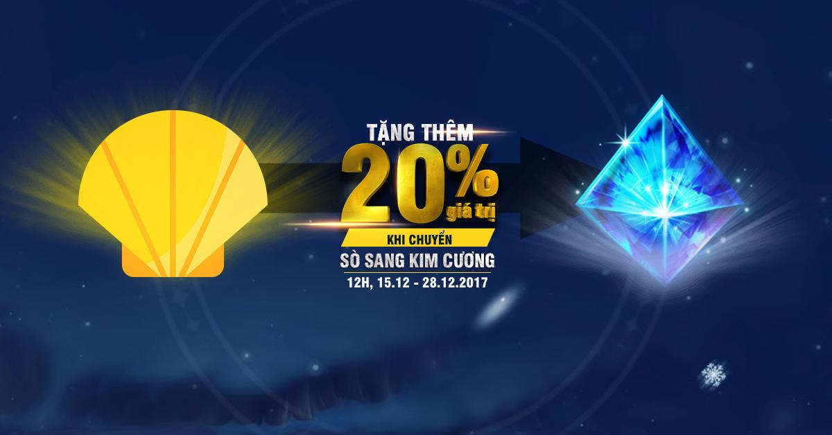 Khi chuyển Sò sang Kim Cương trong thời gian diễn ra sự kiện, người chơi sẽ  nhận thêm 20% Kim Cương.