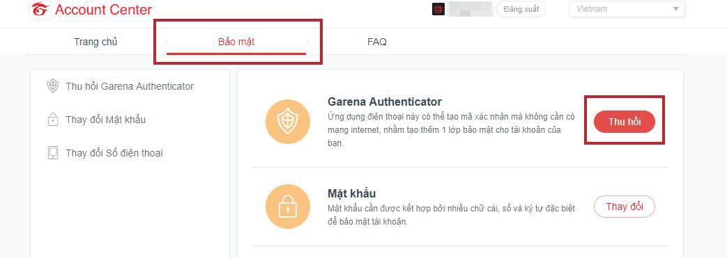 ... kết giữa số điện thoại được đăng ký trong tài khoản với Garena  Authenticator ở trang Quản lý tài khoản (account.garena.com) theo thao tác  như hình dưới.