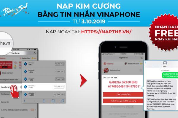 Hướng dẫn nạp Kim Cương bằng tin nhắn SMS VinaPhone với tổng đài 888